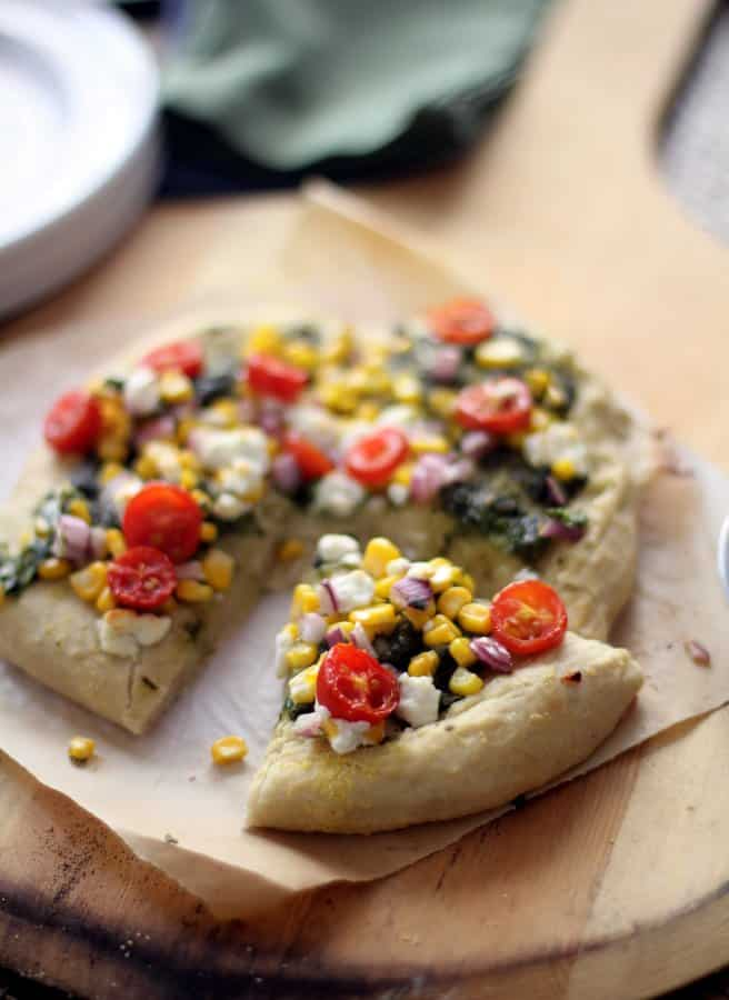 a slice of homemade pesto pizza