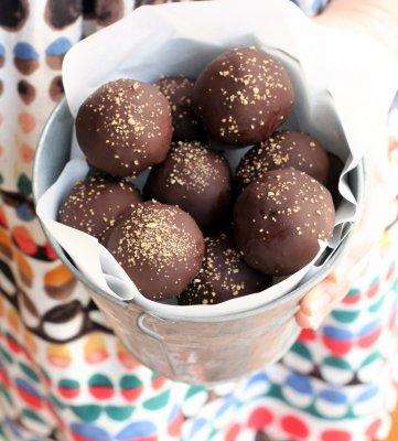 chocolate truffles in a pail