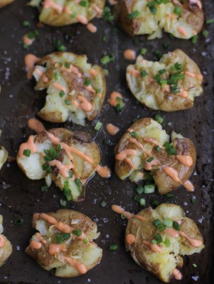 crispy potatoes on a sheet pan