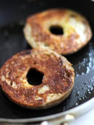 bagels in a skillet
