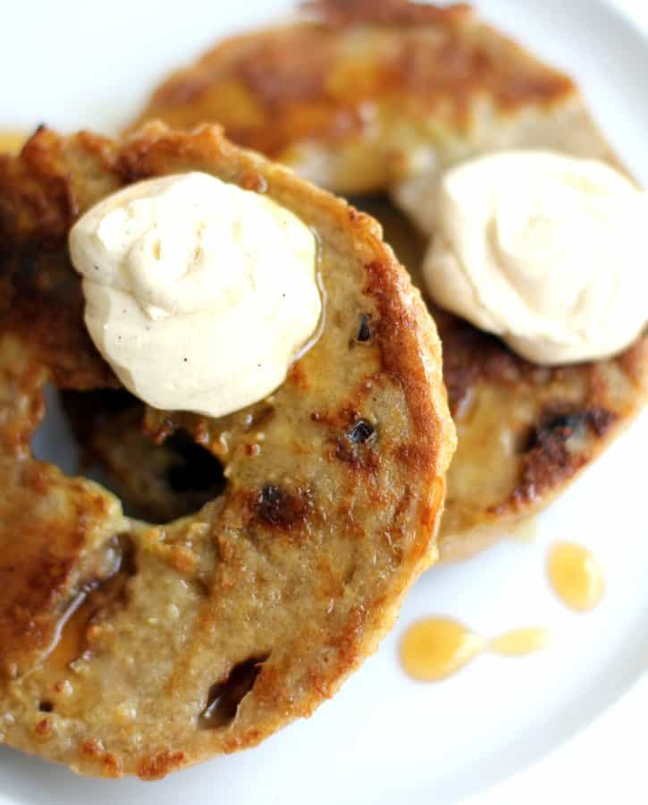 Bagel French Toast on a white plate