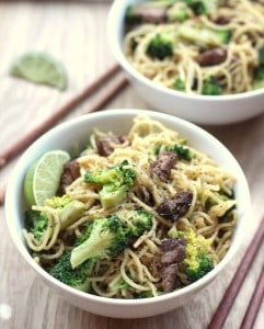 beef noodles in a white bowl