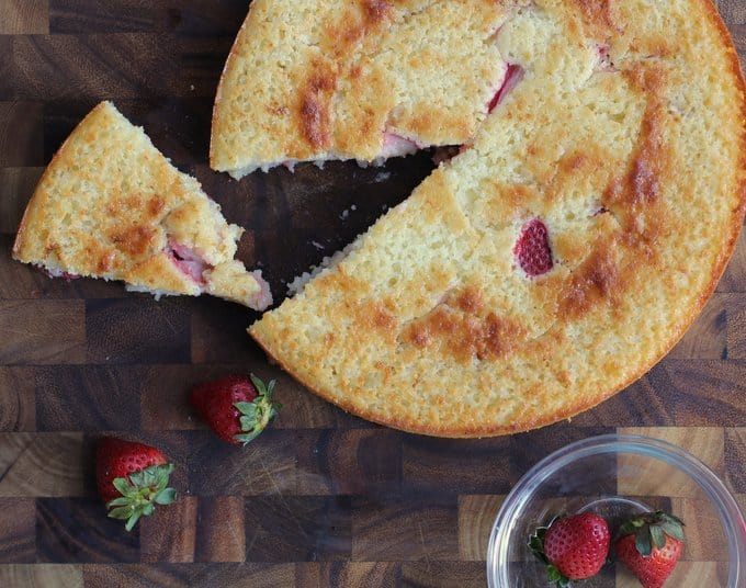 Semolina Cake with Strawberries on a wooden board