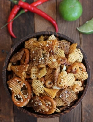 a bowl of spicy snack mix