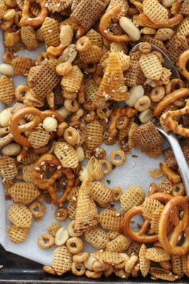 spicy snack mix on a white table