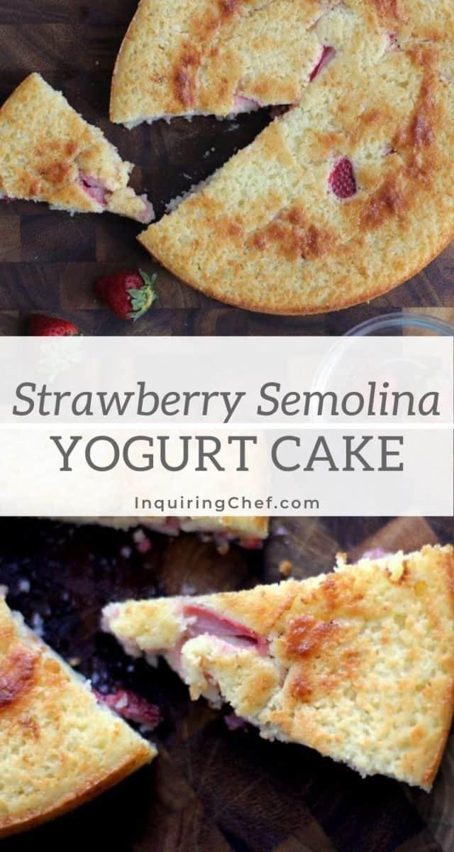 Strawberry semolina yogurt cake