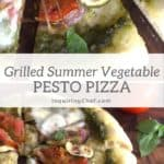 grilled summer vegetable and pesto pizza