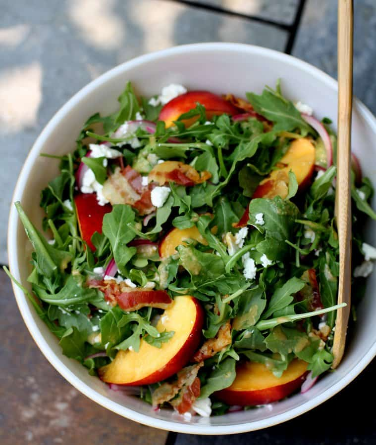 Nectarine Salad in a white bowl