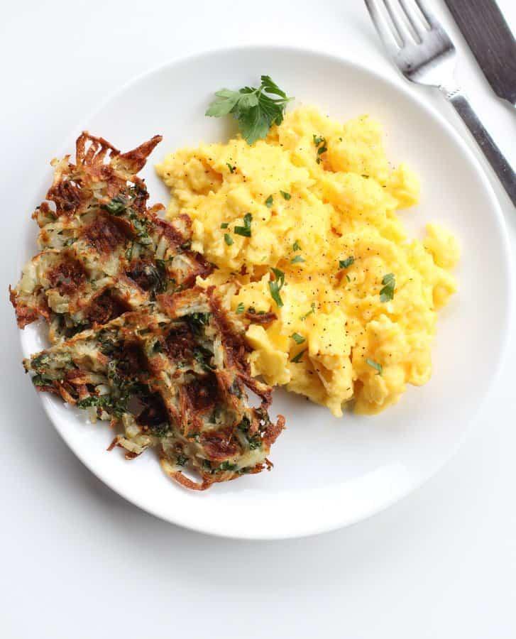 Parmesan Kale Hash Brown Waffles