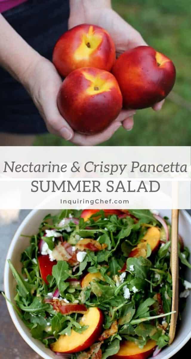 nectarine, arugula and pancetta summer salad