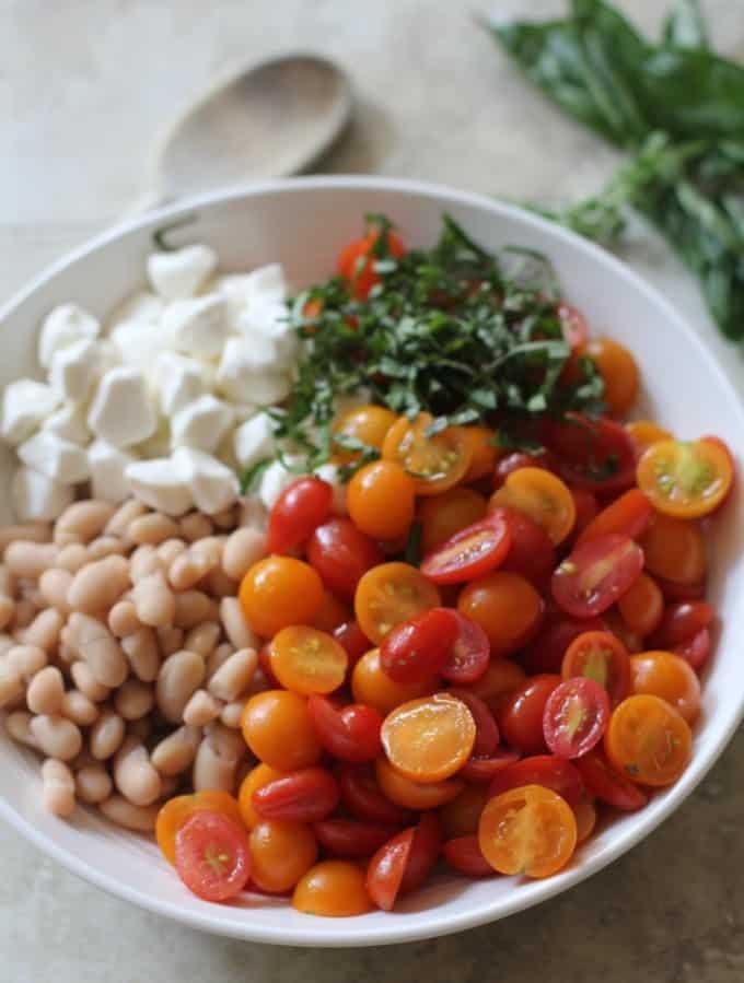 White Bean Salad in a white bowl