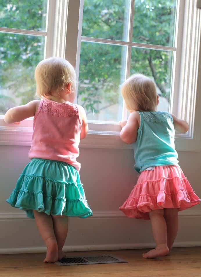 Molly and Clara at the window