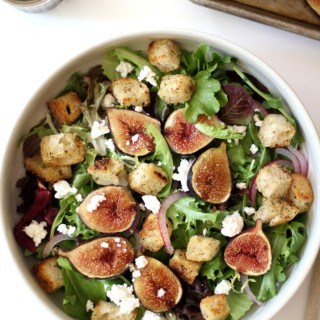 fig salad in a white bowl