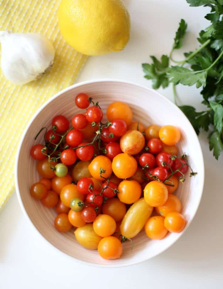 Summer Tomatoes in a white bowl