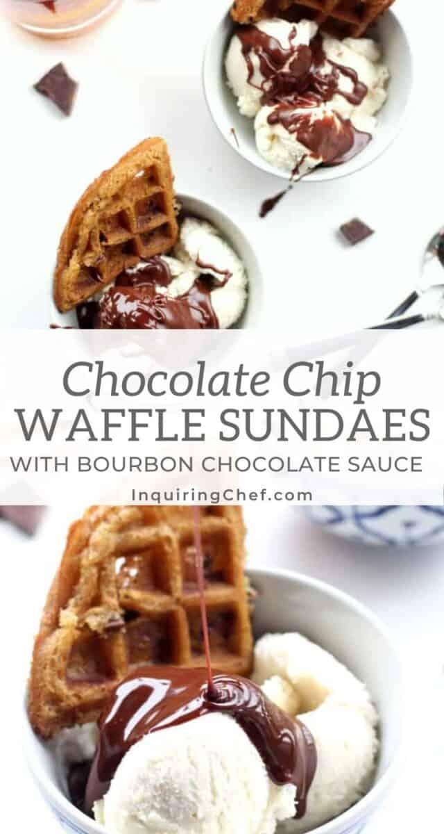 Chocolate Chip Waffle Sundaes