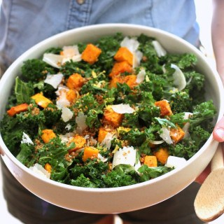 Kale Butternut Squash Salad in a white bowl