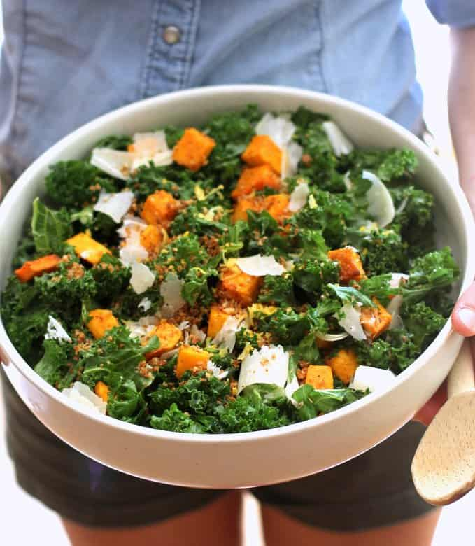 Kale Butternut Squash Salad in a white bowl
