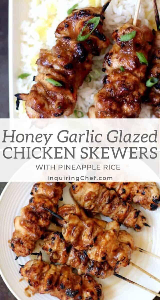honey garlic glazed chicken skewers with pineapple rice
