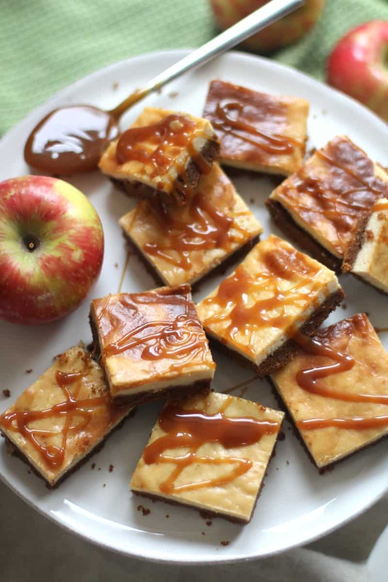 Cider Bars with Caramel Topping on a white plate