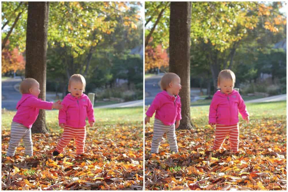 Molly and Clara - Fall Leaves
