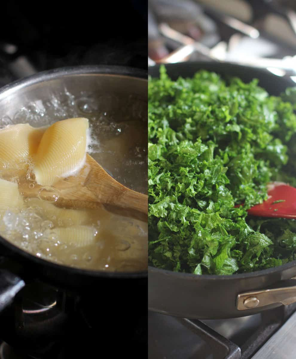 cooking shells and Swiss chard in a skillet