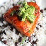 Chipotle Lime Salmon over a bed of rice and beans