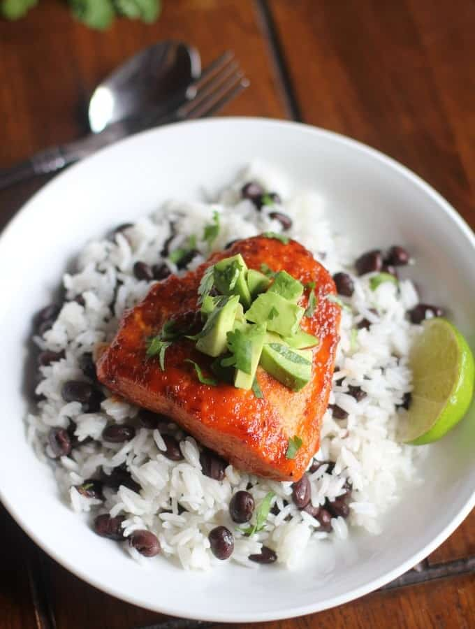 Chipotle Lime Salmon over beans and rice