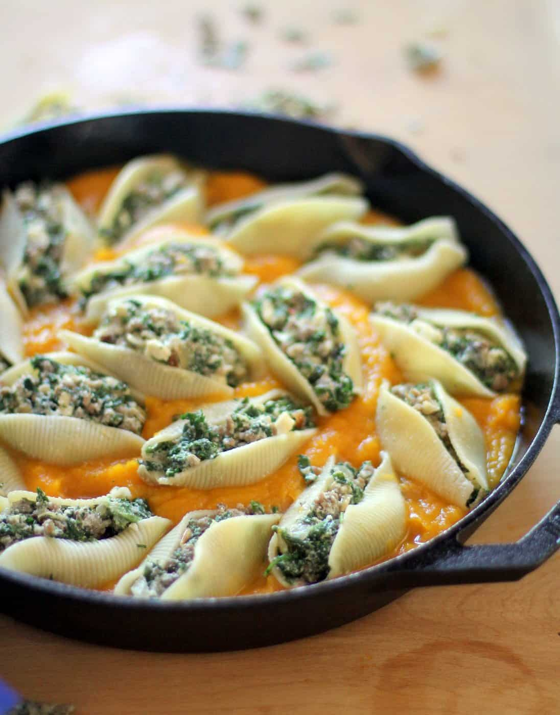 stuffed shells in a cast iron skillet