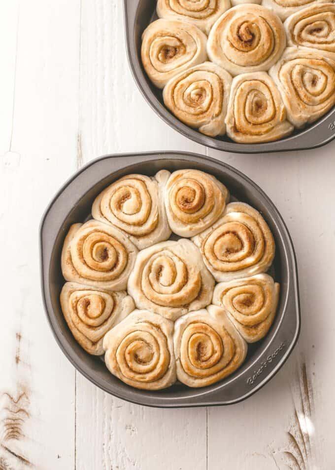 2 round pans of cinnamon rolls