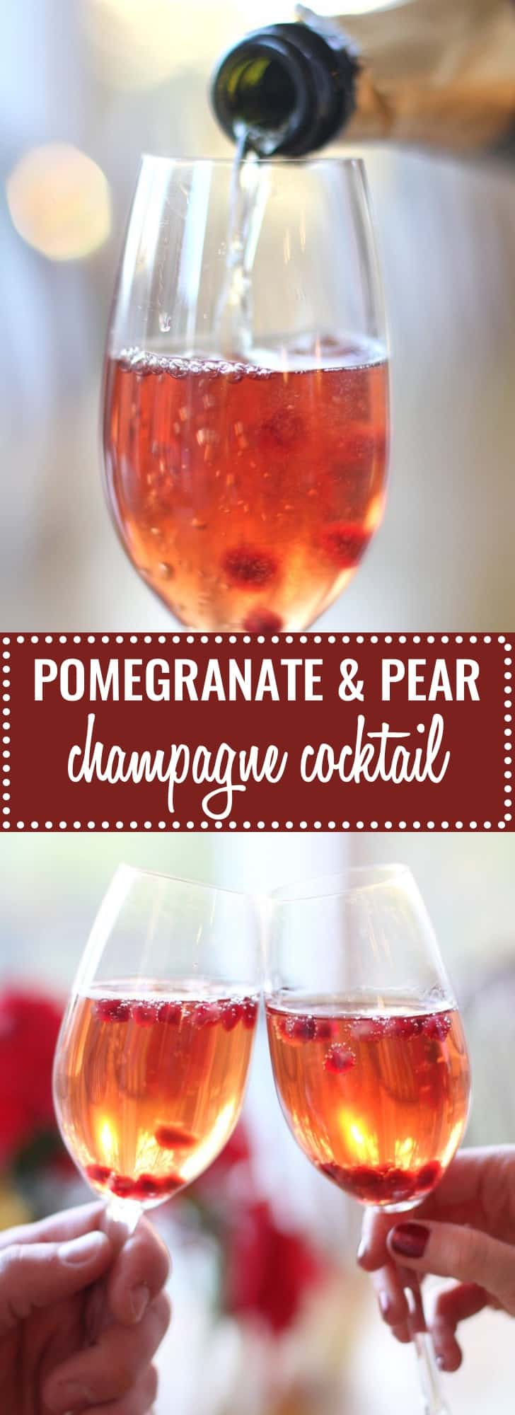 Delightfully fun and festive, this champagne cocktail uses pear liquor and fresh pomegranate seeds that dance in the tiny bubbles!