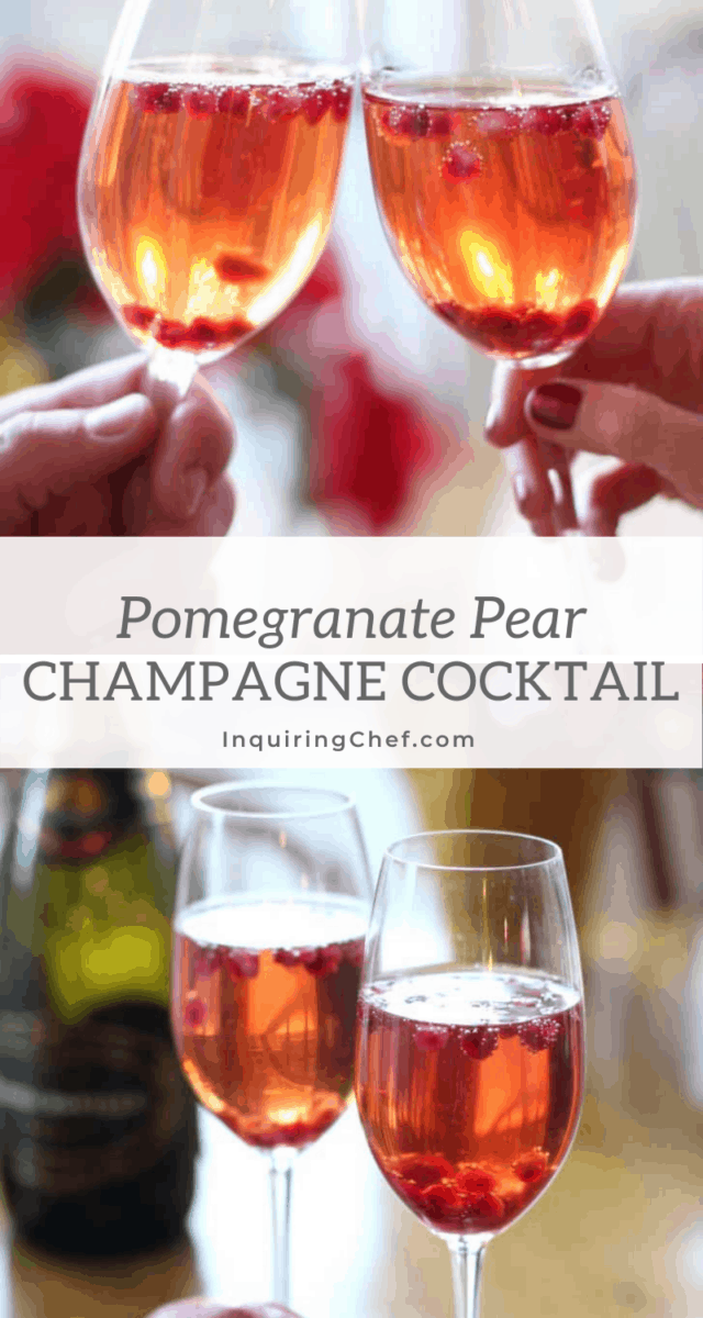 pomegranate pear champagne cocktail