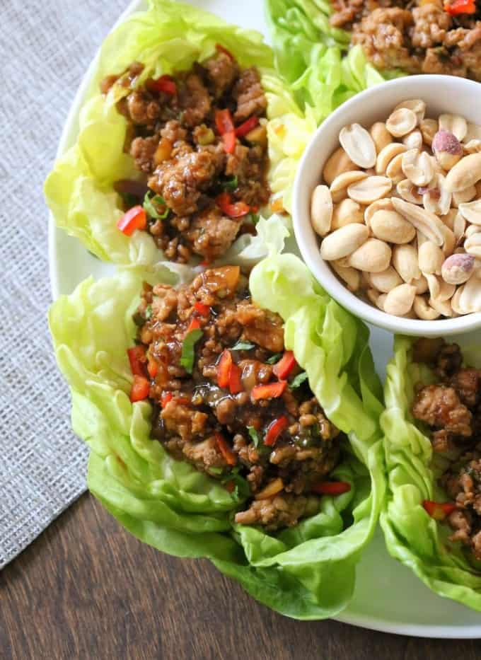 Asian Chicken Lettuce Cups on a white plate