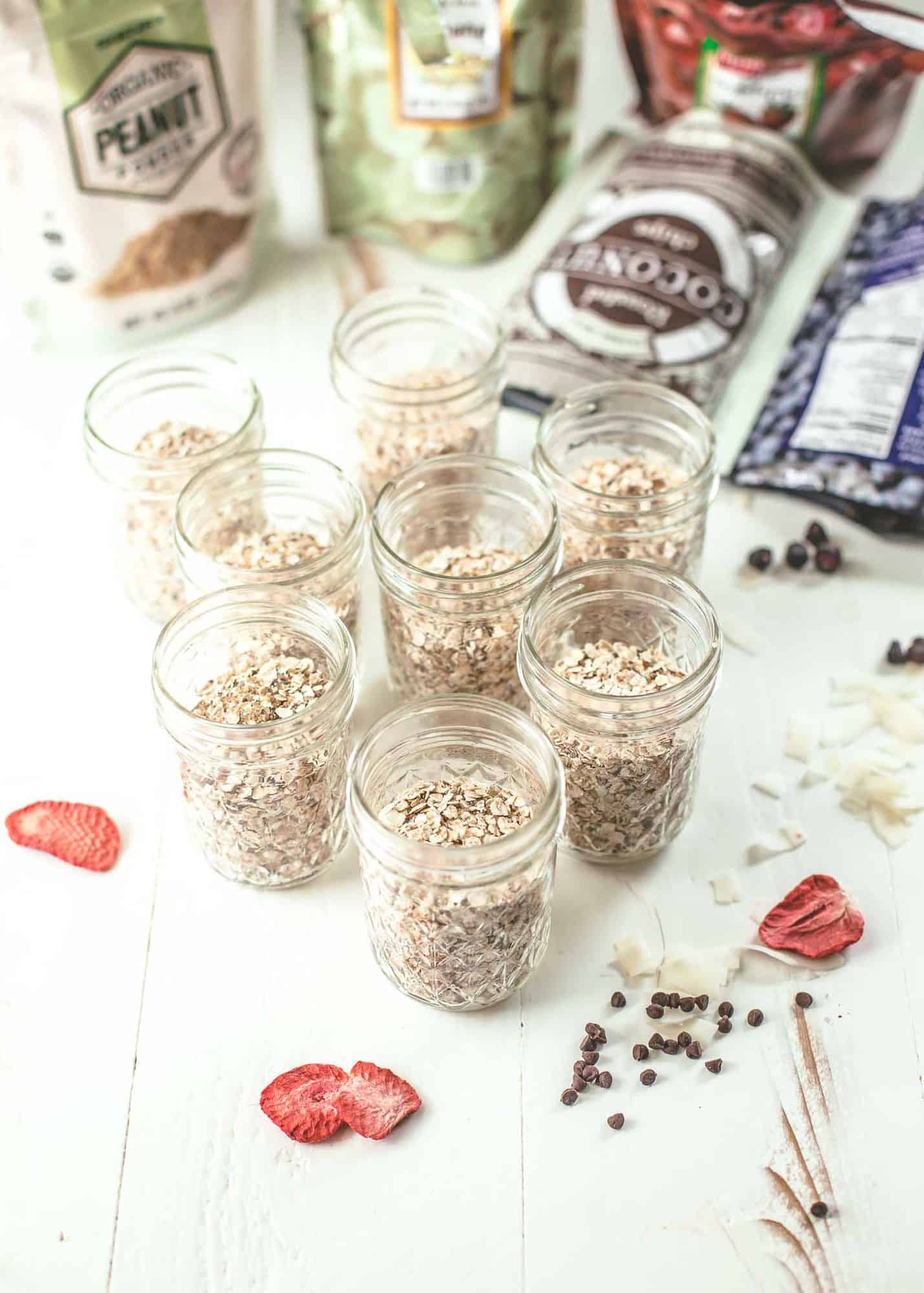mason jars of homemade oatmeal on a white table