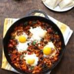huevos rancheros in a cast iron skillet