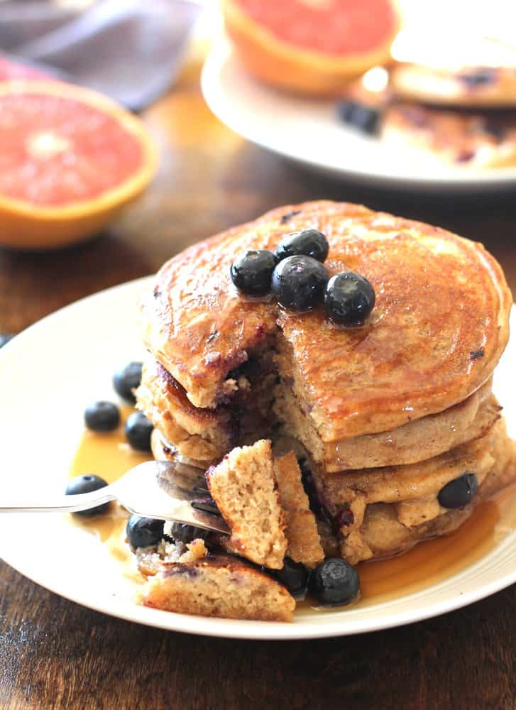 Blueberry Pancakes on a white plate