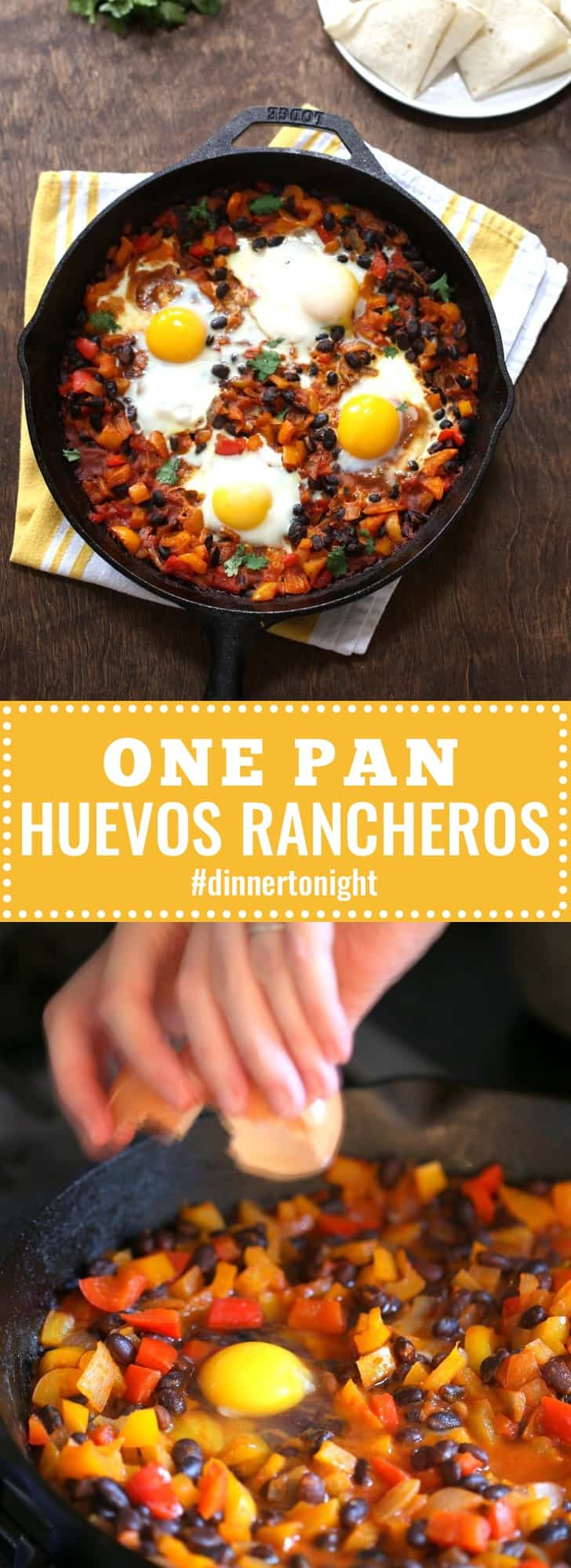 Huevos Rancheros - This rustic one pan meal makes a great vegetarian weeknight dinner. Frozen bell peppers add color and crunch. Top with cheese, avocado, sour cream or extra salas! #dinnertonight #30minutemeals