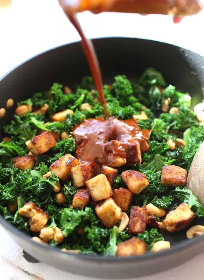 adding Nam Prik Pao to tofu stir fry
