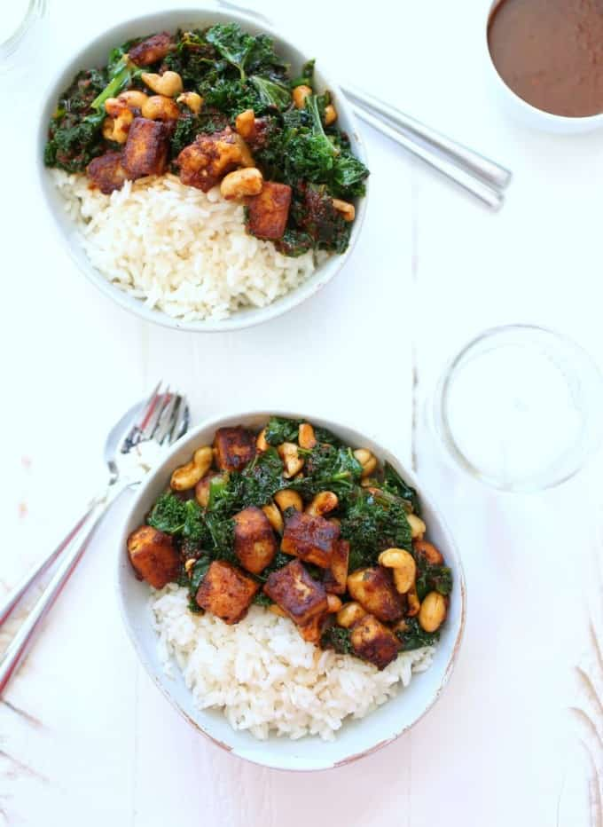 Thai tofu over rice in white bowls