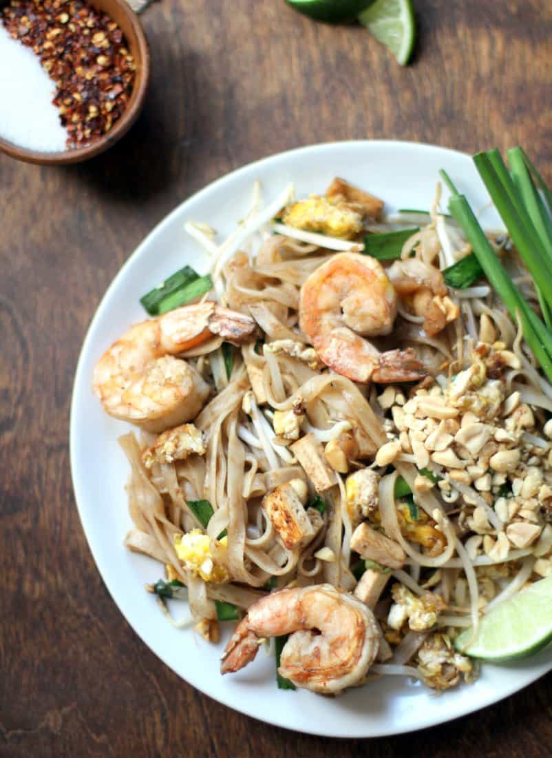 Homemade Pad Thai on a white plate