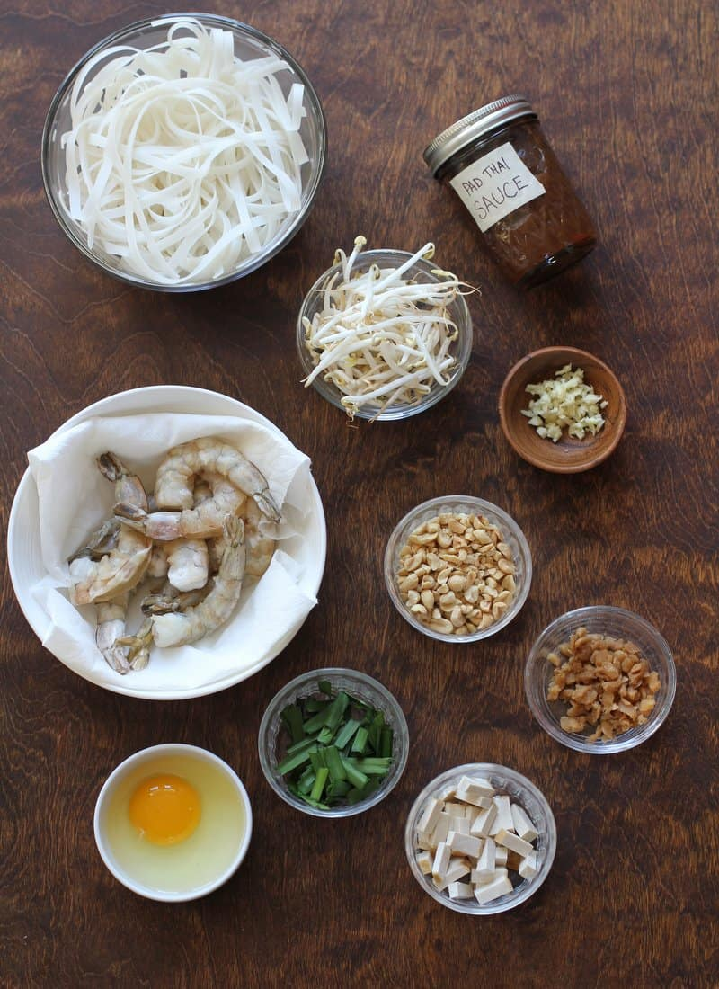 Pad Thai Ingredients on a wooden table