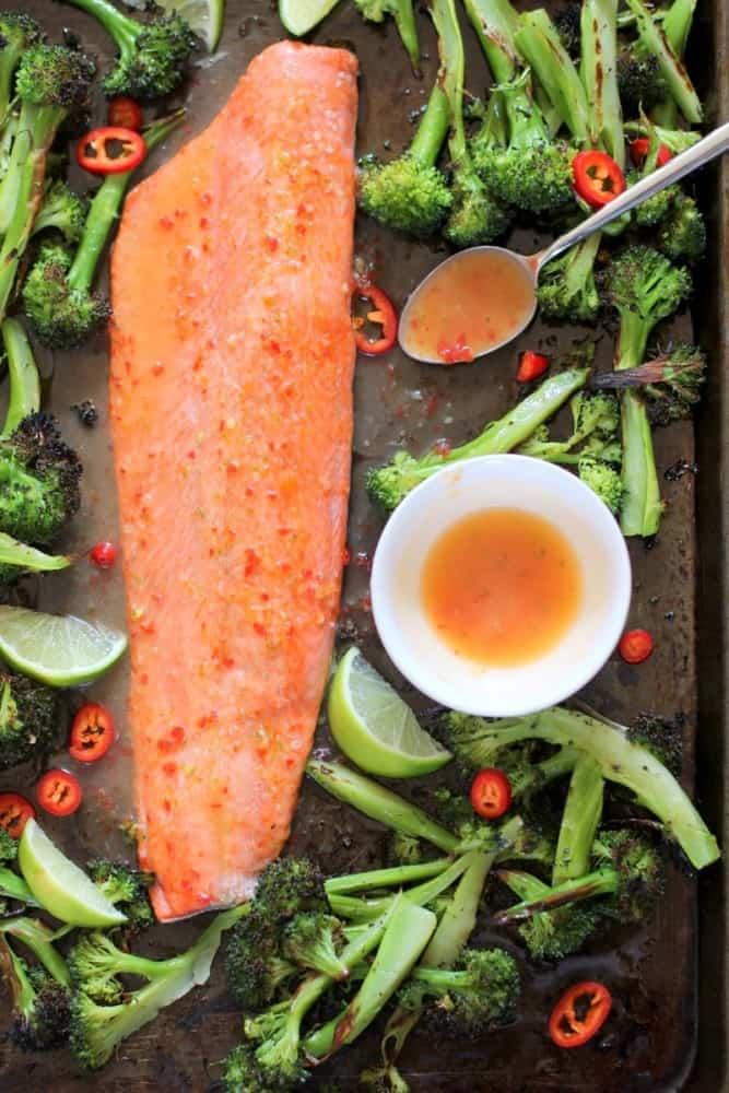 Salmon and broccoli on a sheet pan