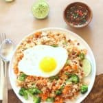 thai fried rice topped with a fried egg