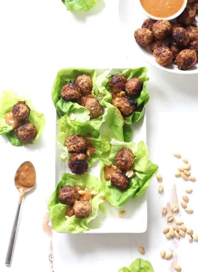 Thai Meatballs in lettuce cups