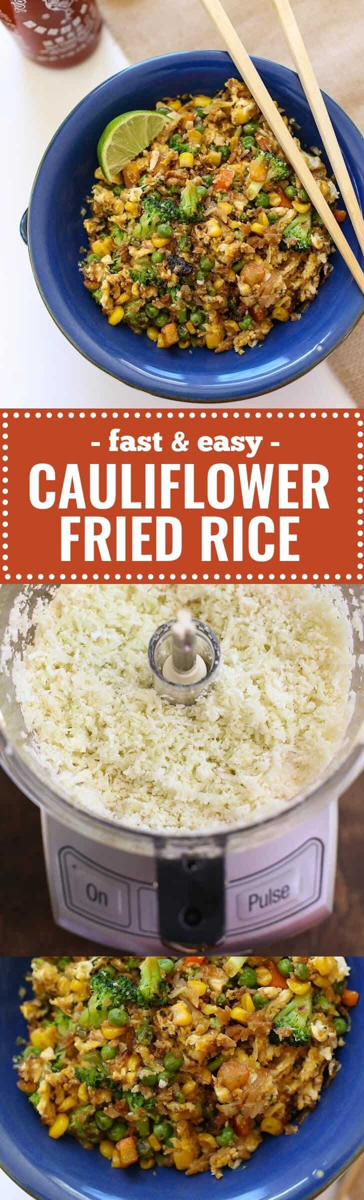 """Cauliflower Fried Rice - Fried """"Rice"""" made with cauliflower rice is low carb, paleo and gluten free. Best of all, cauliflower rice has a great, light texture and absorbs all the flavors of the addictive sauce it's tossed in. Customize this easy weeknight recipe using any vegetables you have in the fridge. Paleo, Gluten-Free, Vegetarian, Healthy and Tasty"""