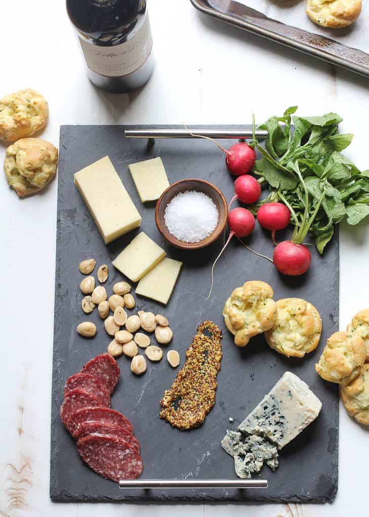 Herb Gougeres on a Spring Cheese Board