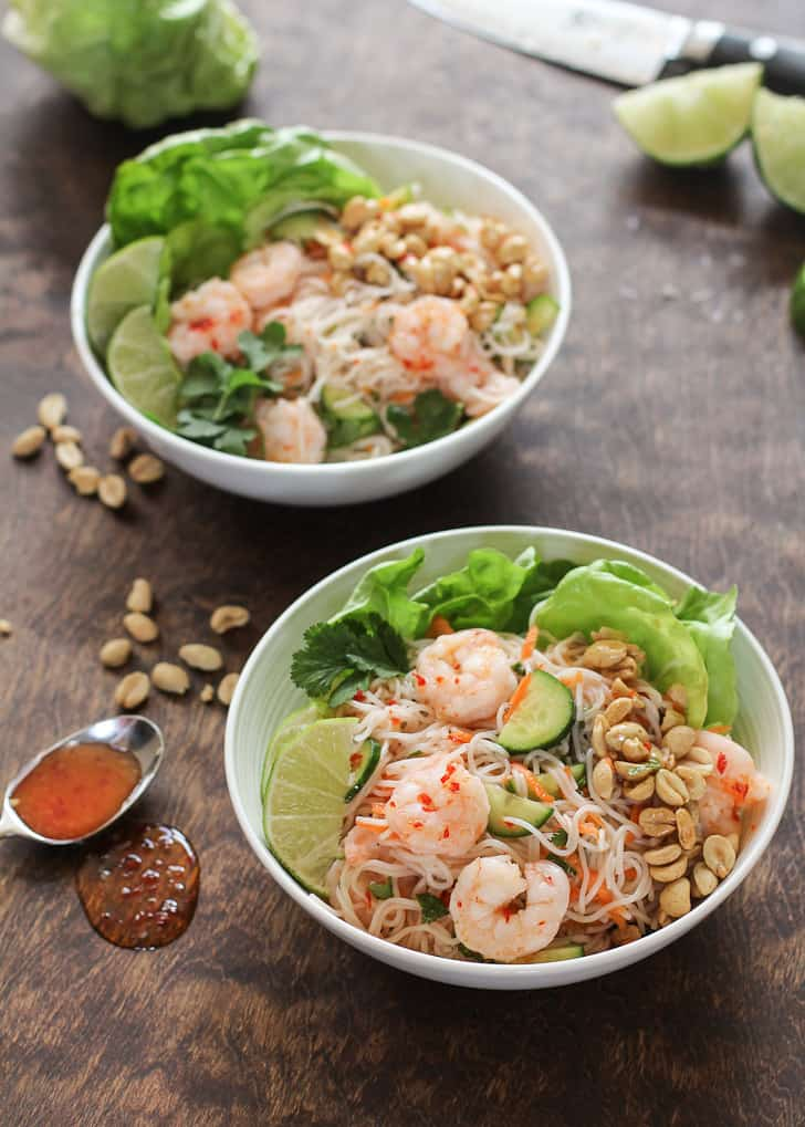 Vietnamese Shrimp Noodle Bowls on a wooden table
