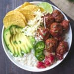 meatball taco bowls with cheese and avocado