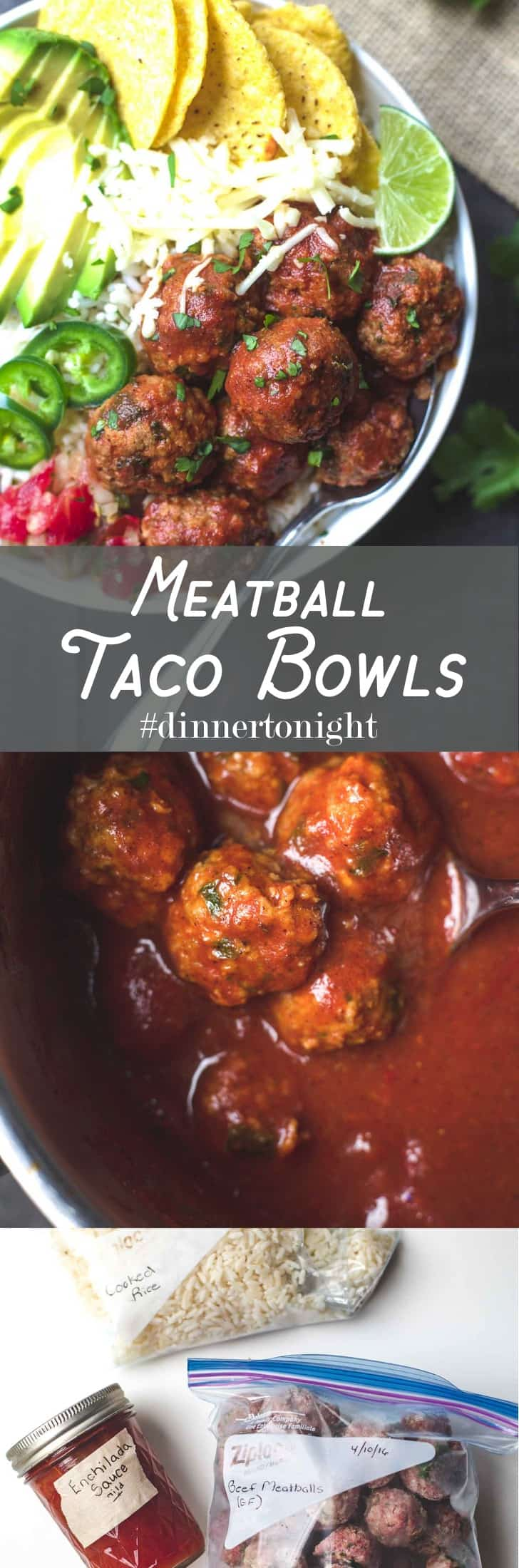 Meatball Taco Bowls- Fresh, fast, and loaded with flavor. One of our favorite freezer-friendly meals. These are gluten-free, totally customizable, and only 520 calories!
