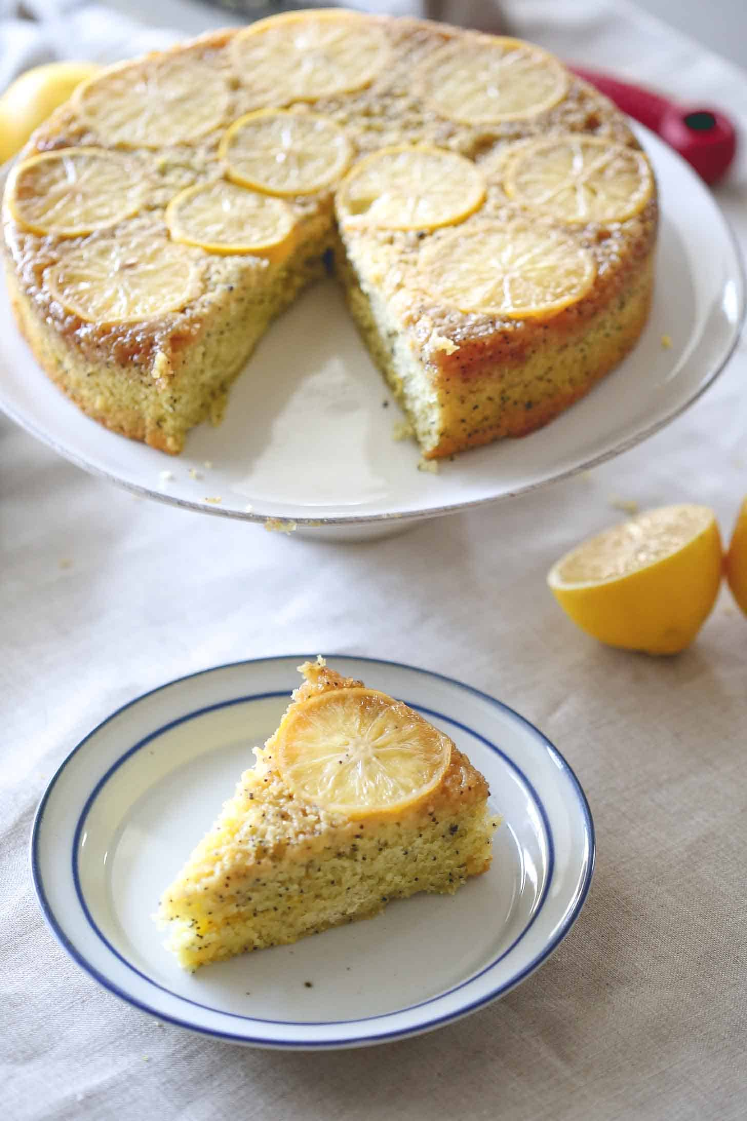 a slice of Meyer Lemon Upside Down Cake on a white plate
