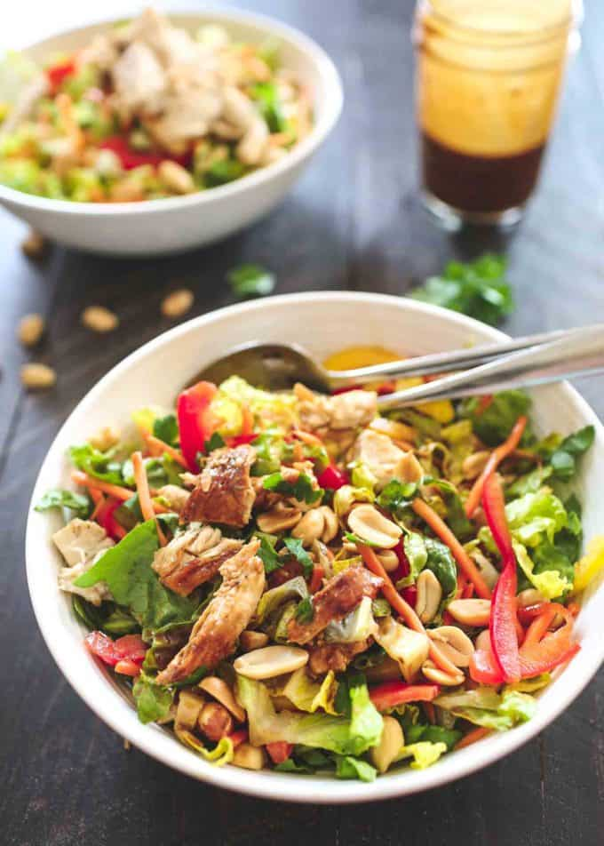 Thai Chopped Chicken Salad in a white bowl